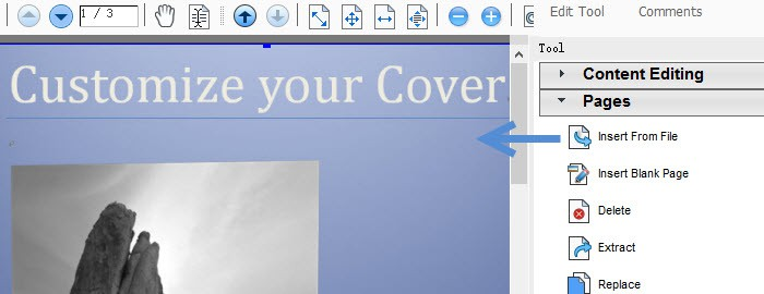 insert existing pdf page