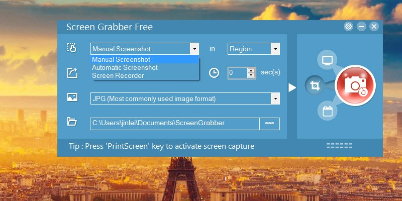starter interface of screen grabber free