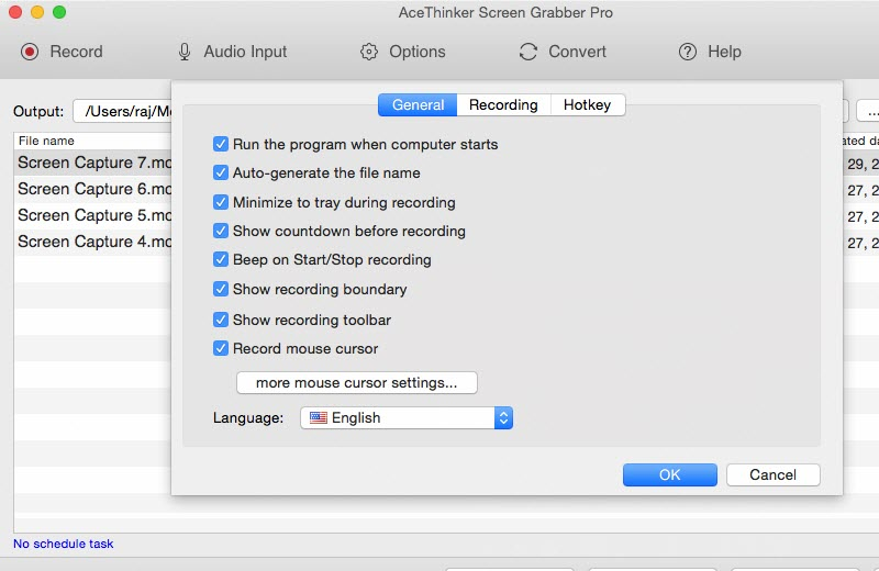 general settings of screen grabber pro mac