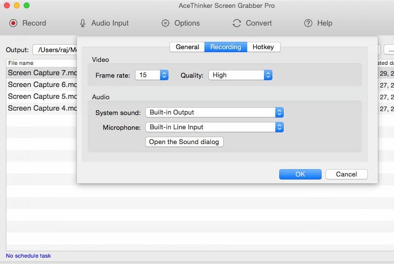 recording settings of screen grabber pro mac